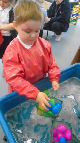 How many eggs can you scoop out of the water?