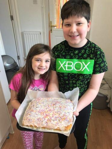 Hayden & Maci made old school cake