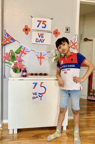 Aarav celebrating VE Day