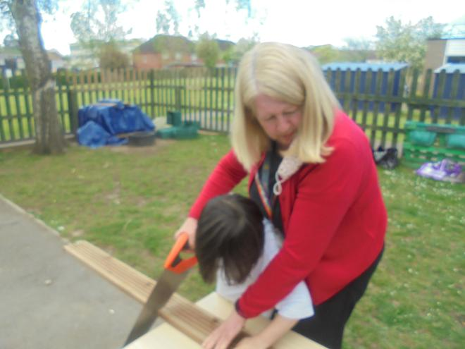 We had great fun using saws to cut the wood to the correct size