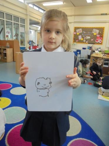Following instructions to draw a chick