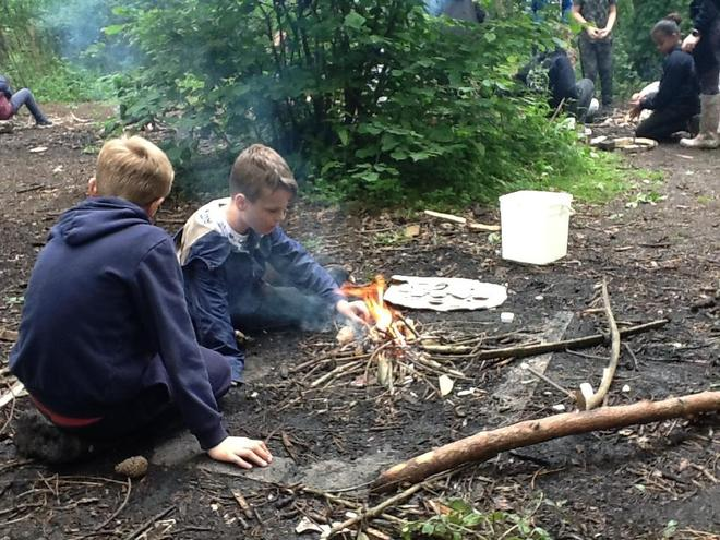 Learning how to make a campfire