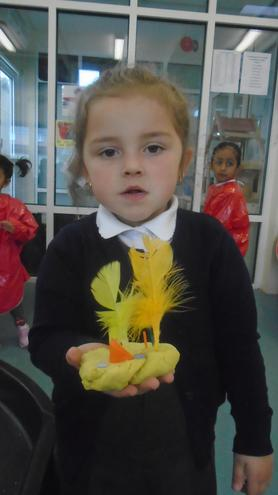Making Easter chicks out of playdough