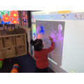Firework pictures on the interactive whiteboard