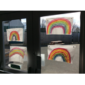 Our rainbows in the school window