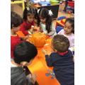 Exploring a pumpkin