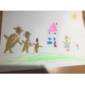 I drew a picture of Goldilocks and the three bears