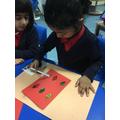 Making cards for staff around school