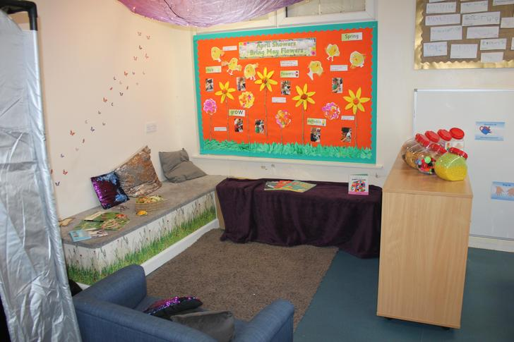 Our reading and story time area