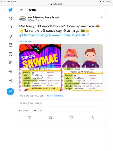 Rhannu neges diwrnod Shwmae