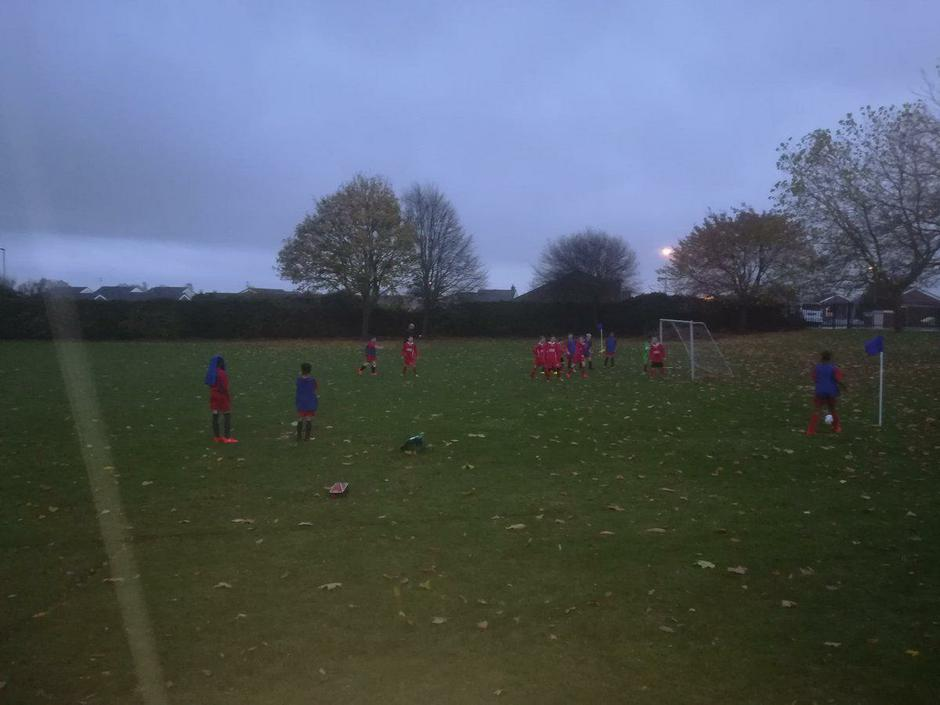 Football in the wind & rain against Redwell School