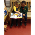 Sharing a story on the story bench.