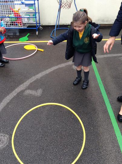 We enjoy playing different games with the hoops!
