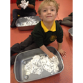 Mark making in our messy trays