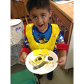 Paper plate Pudsey on Children in Need Day