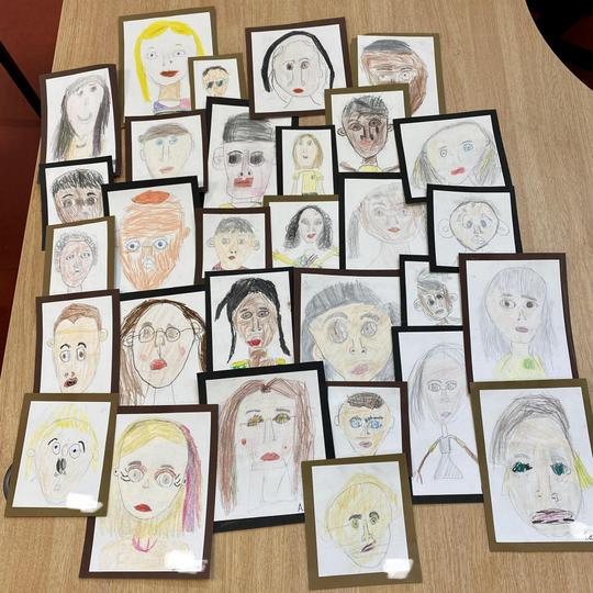 Take a look at our amazing self portraits. We thought about the proportions of our faces.