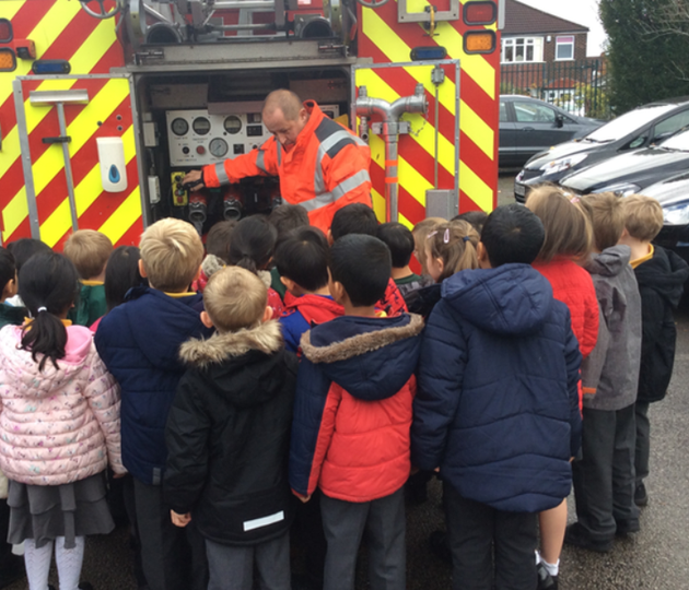 The fire brigade visited and told us the rules for staying safe on Bonfire Night