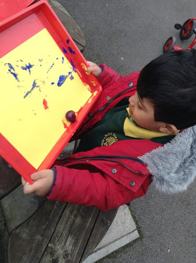 We have enjoyed painting with conkers!