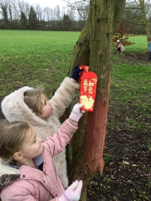 Making a Wishing Tree for Chinese New Year.