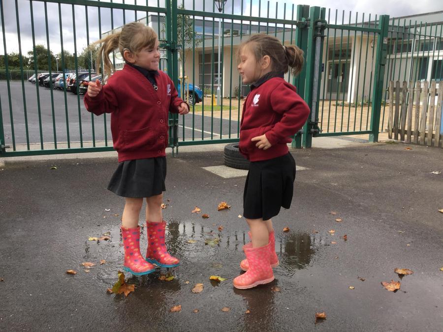 Enjoying puddles!