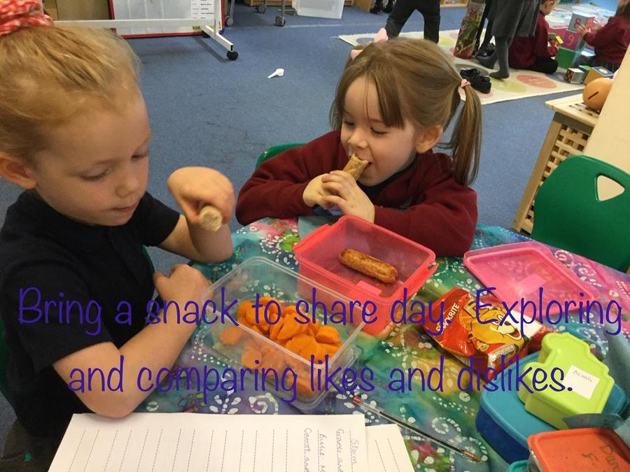 Sharing favourite foods with a friend