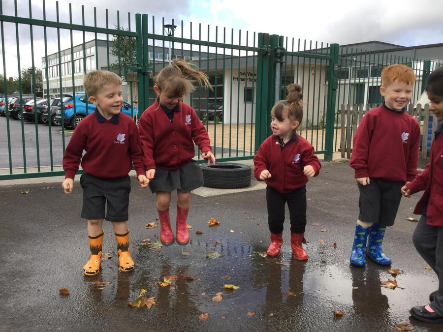 Enjoying puddles!