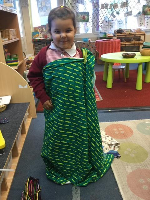 Making a sari for Divali.