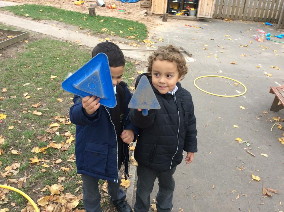Hunting for shapes outside.