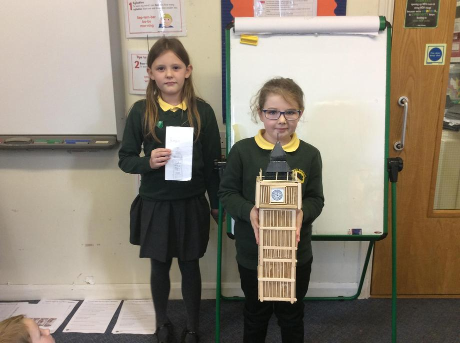 Katie and Alicia have both worked hard to research a famous Landmark.