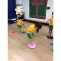 Balancing for 10 seconds on the wobble cushion!