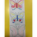 We used the primary colours to create butterflies