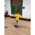One legged balance on the wobble cushion