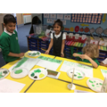 Mixing colours to paint a landscape.