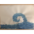 Recreating artwork with cold colours in the style of Hokusai