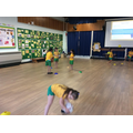 Practising to attack and defend.