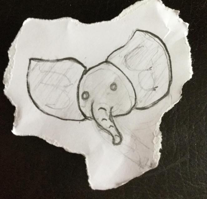 Sureya's elephant sketch.