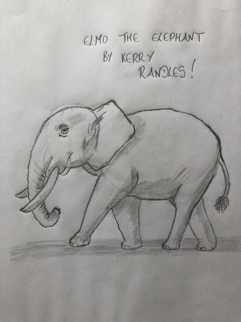Mrs Randles' elephant sketch.