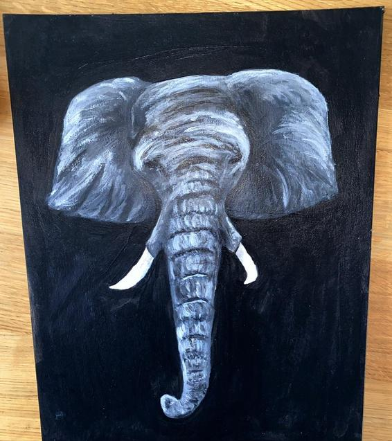 Miss Johnson's painted elephant.