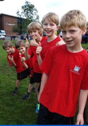 Y5/6 boys lined up and ready for the start