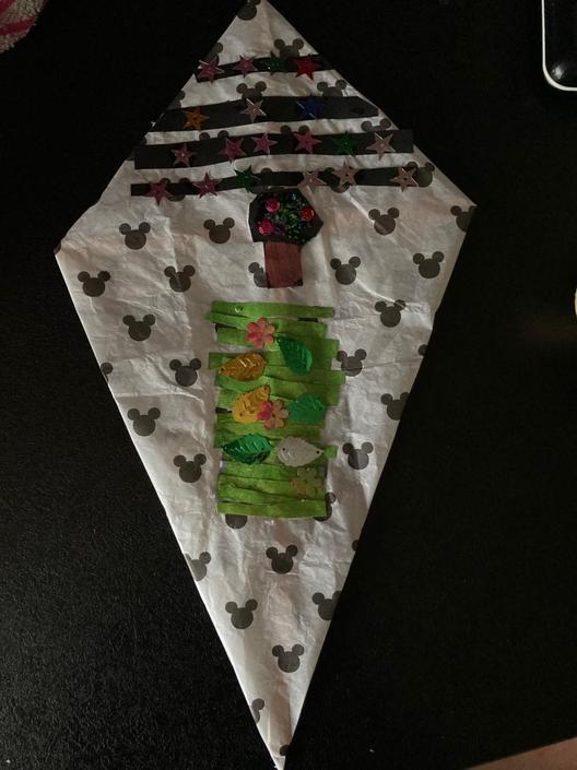 Lenna's kite based on the Parkside logo.