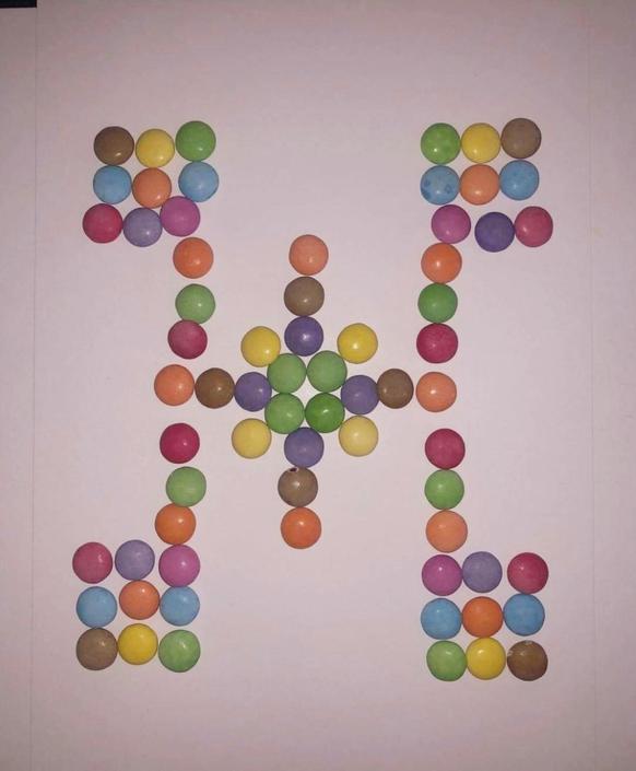 Rhys has enjoyed creating a 'Smartie Mandala'