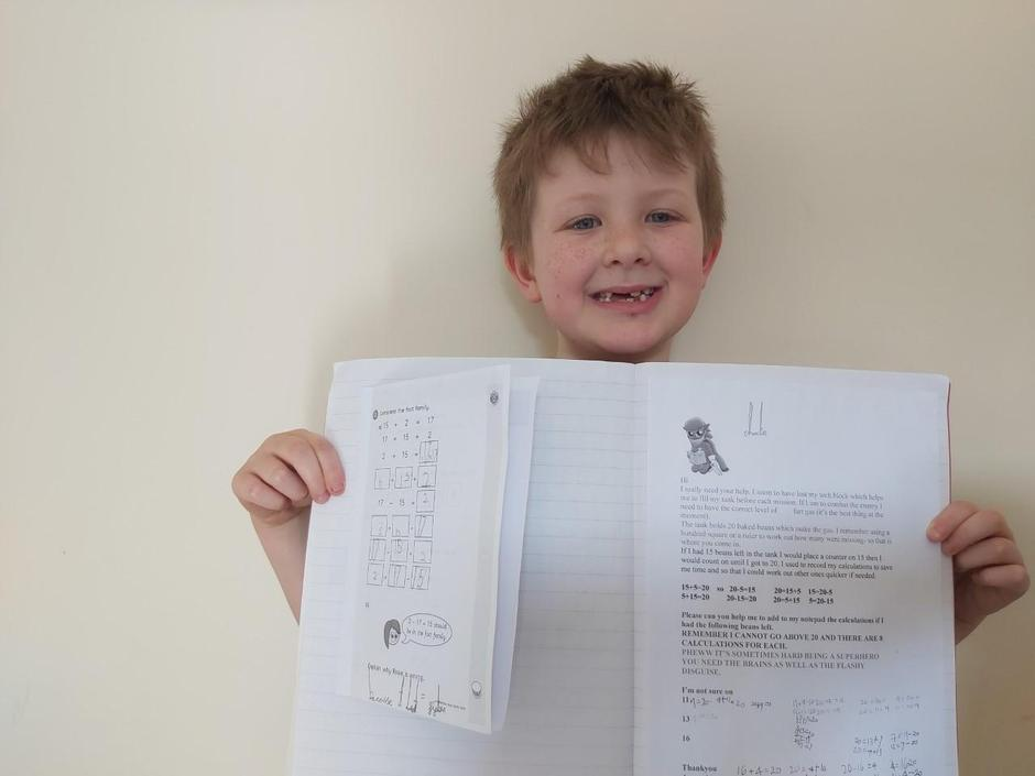 Charlie enjoying his learning - well done Charlie!