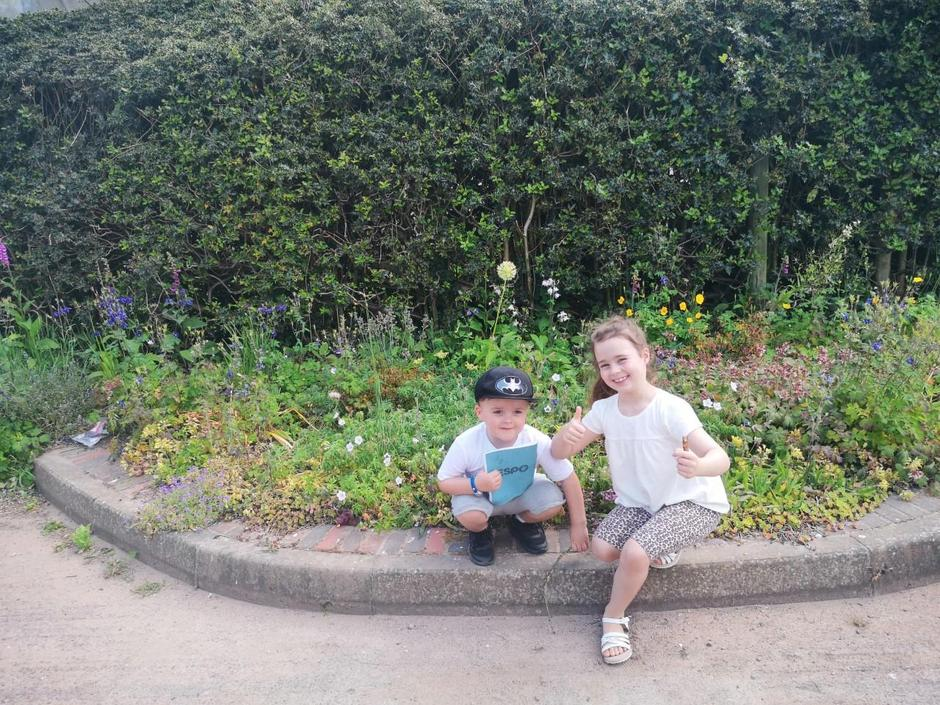 Erica and her brother enjoying outdoor learning