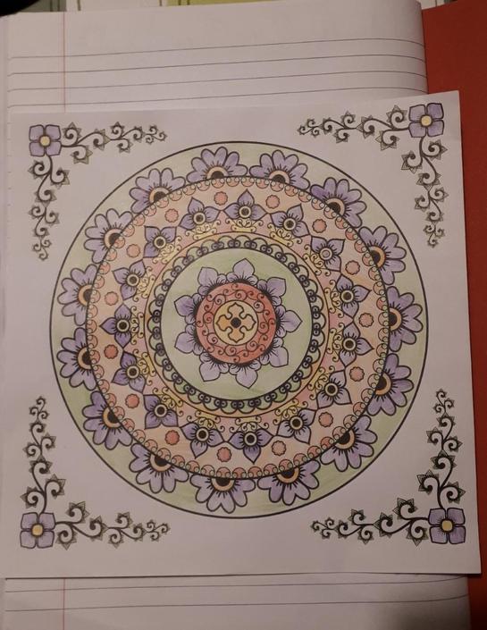 Caitlin has coloured a lovely Mandala.