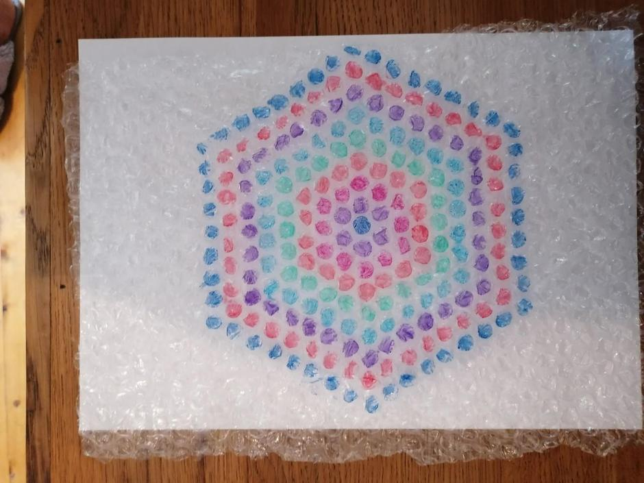 Cora's bubble wrap Mandala.