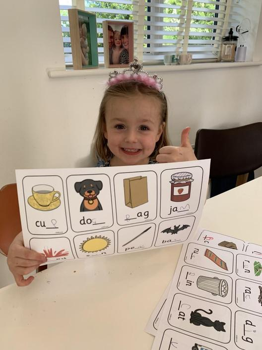 Emmy has been busy writing cvc words