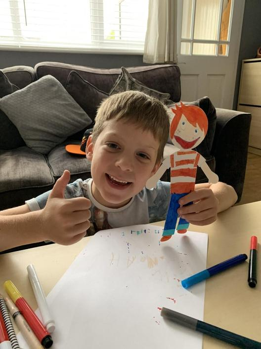 Noah is proud of his Stanley creation