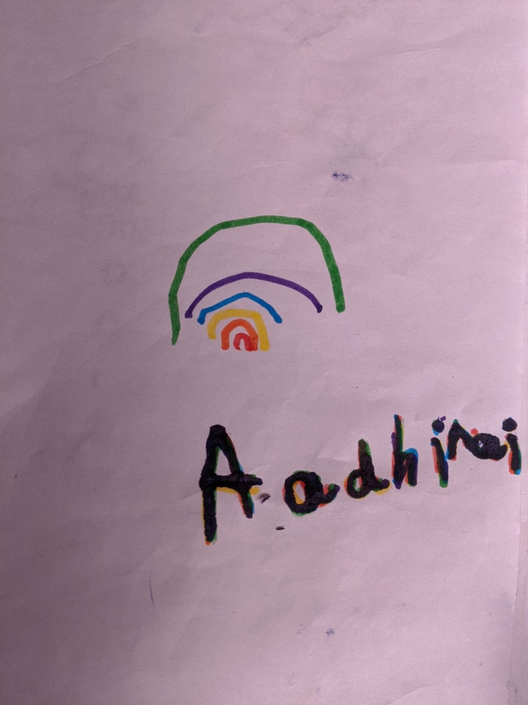 Aadhirai wrote her rainbow name