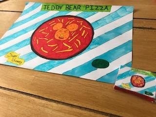 Wren has made a Teddy Bear Pizza.