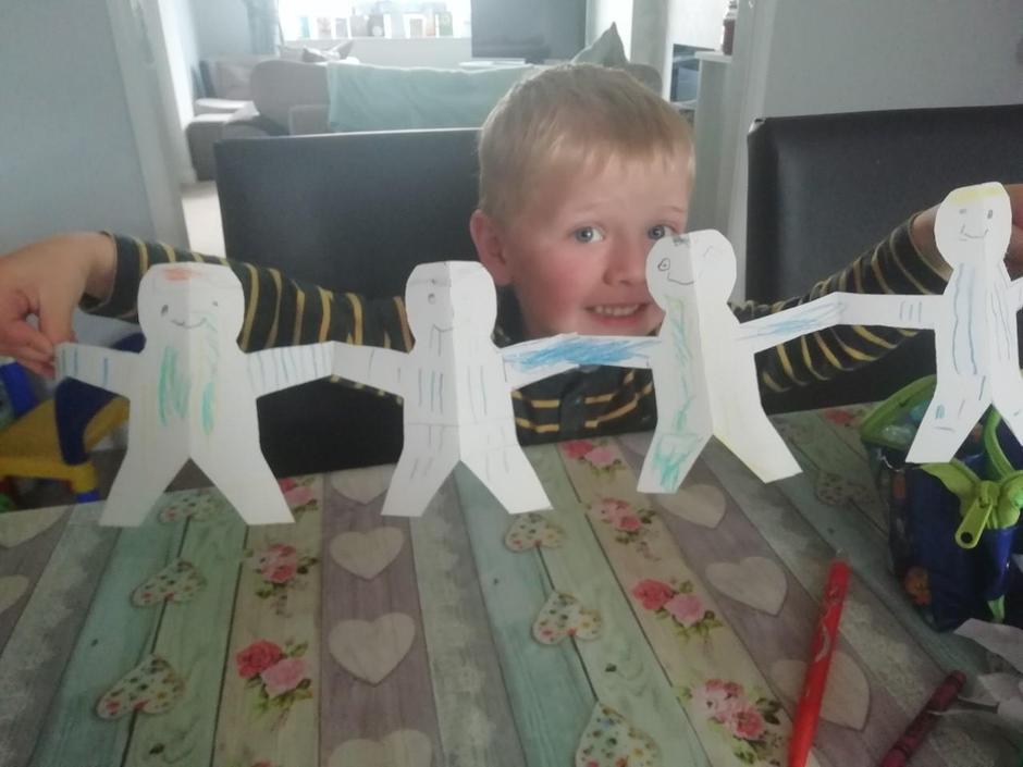 Alfie loved making paper footballers